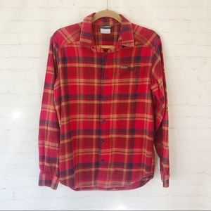 [Columbia] women's red plaid flannel shirt small